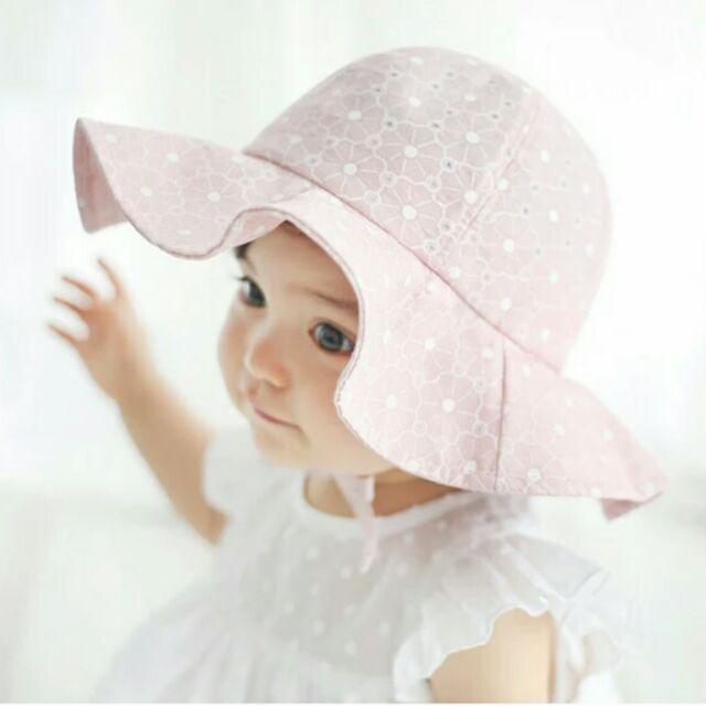 甜美大帽沿女寶純棉荷葉邊防曬帽出游