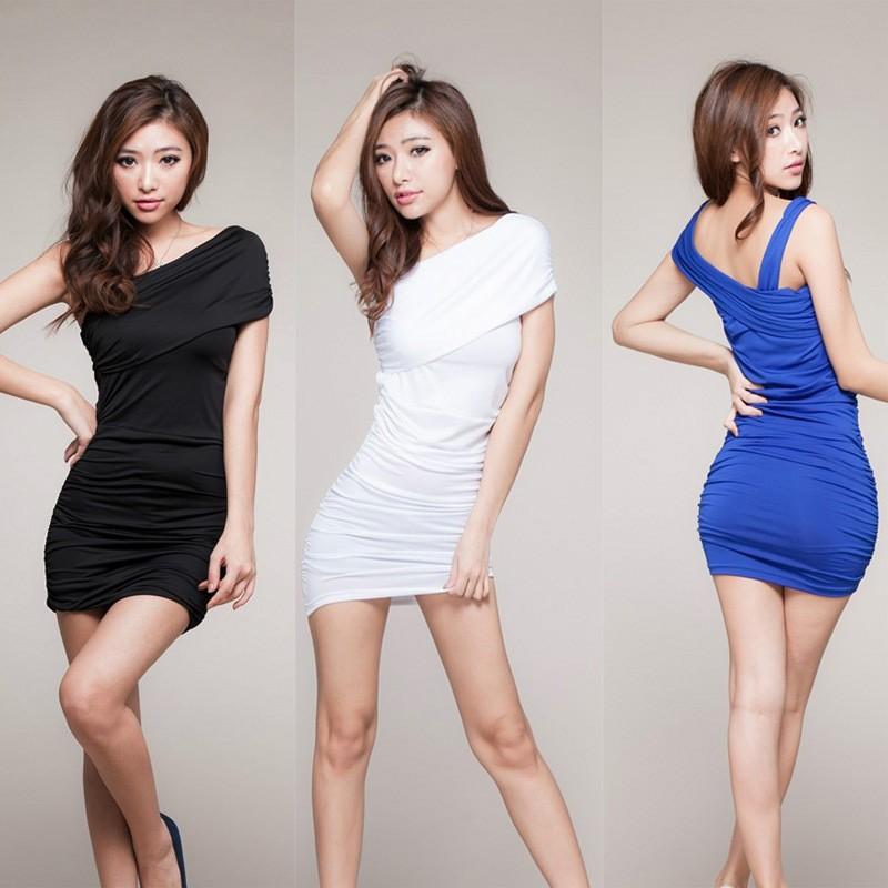 KTV 酒吧超短裙修身包臀顯瘦斜肩性感吊帶裙夜店氣質名媛