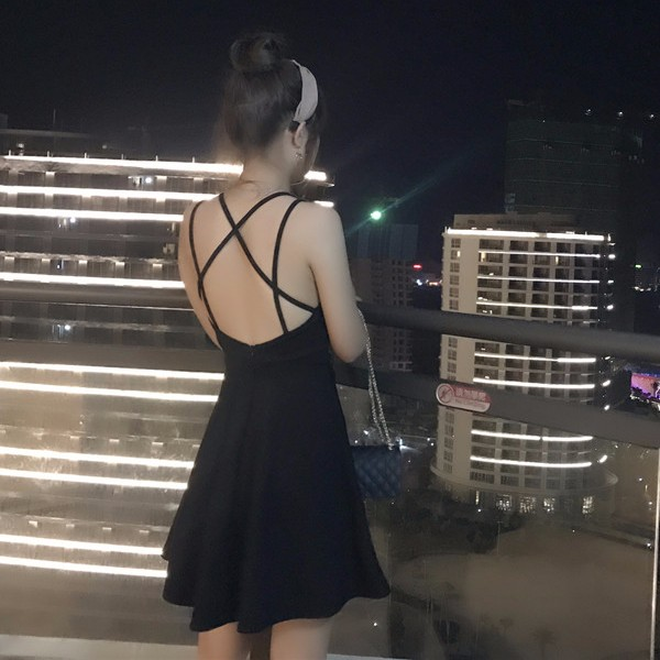 ❤ 實拍❤2017 夏 港味chic  晚禮服背後交叉顯瘦洋裝性感心機連衣裙女生衣著韓妞