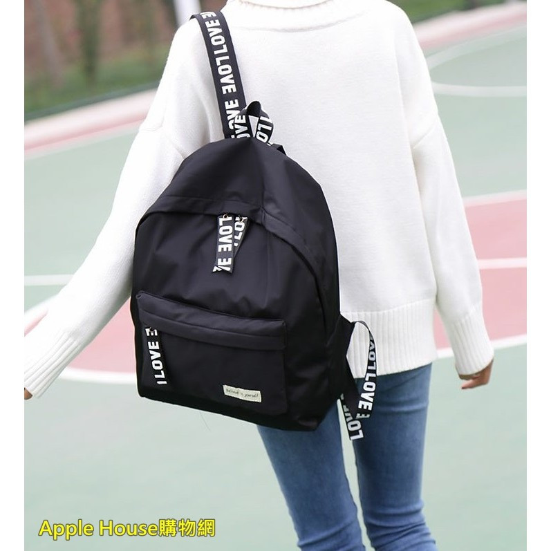 韓國原宿字母雙肩包復古學院風書包學生背包女休閒森系潮旅行
