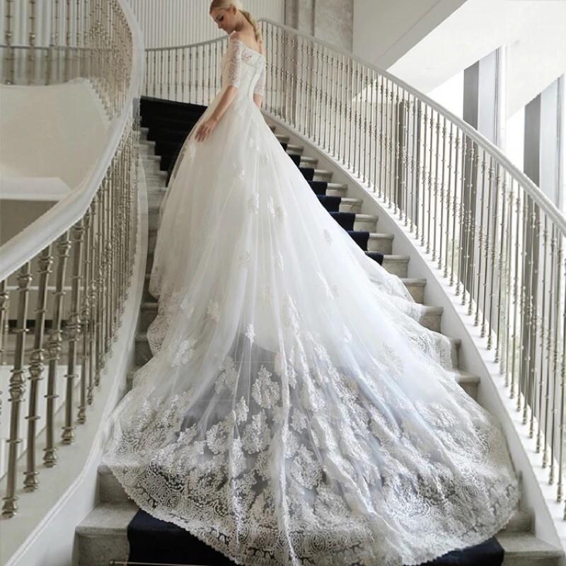 2016 高檔長拖尾婚紗禮服新娘一字肩韓式簡約長袖齊地大碼修身