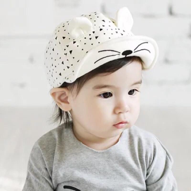 當天寄出~寶寶鴨舌帽棒球帽遮陽帽 帽小貓咪兒童棒球帽小耳朵貓咪帽棉質