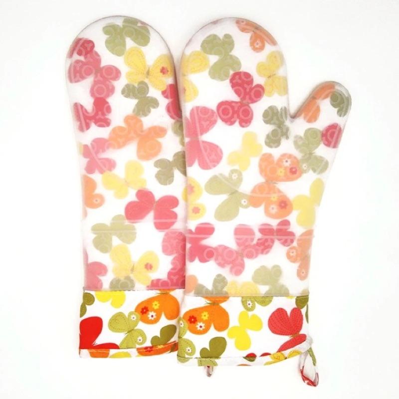 加厚加長矽膠鋪棉防燙隔熱手套(一雙)