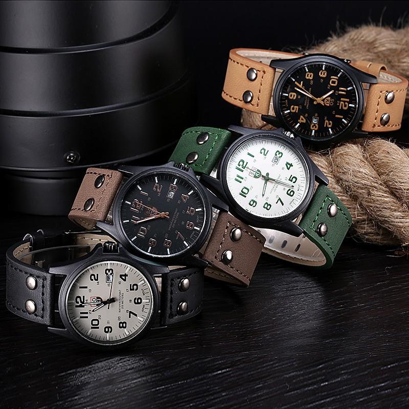 復古 男士防水日期皮革帶 手錶