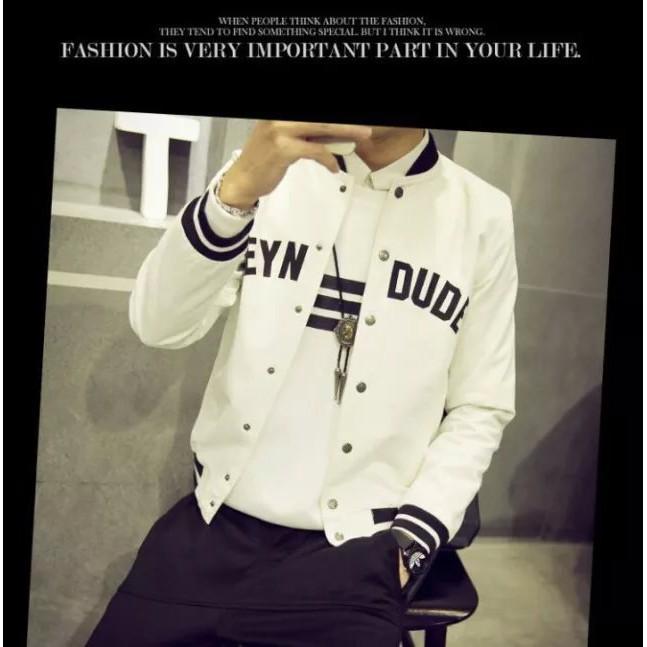 春裝男夾克青少年學生外套潮短款修身日系印花棒球服 男裝外套