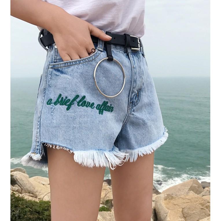 女生衣著 潮流百搭顯瘦丹寧牛仔刺繡字母毛邊牛仔短褲