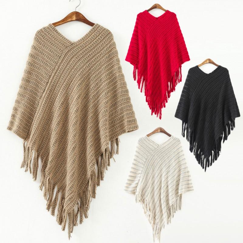 蝙蝠袖流蘇針織披風