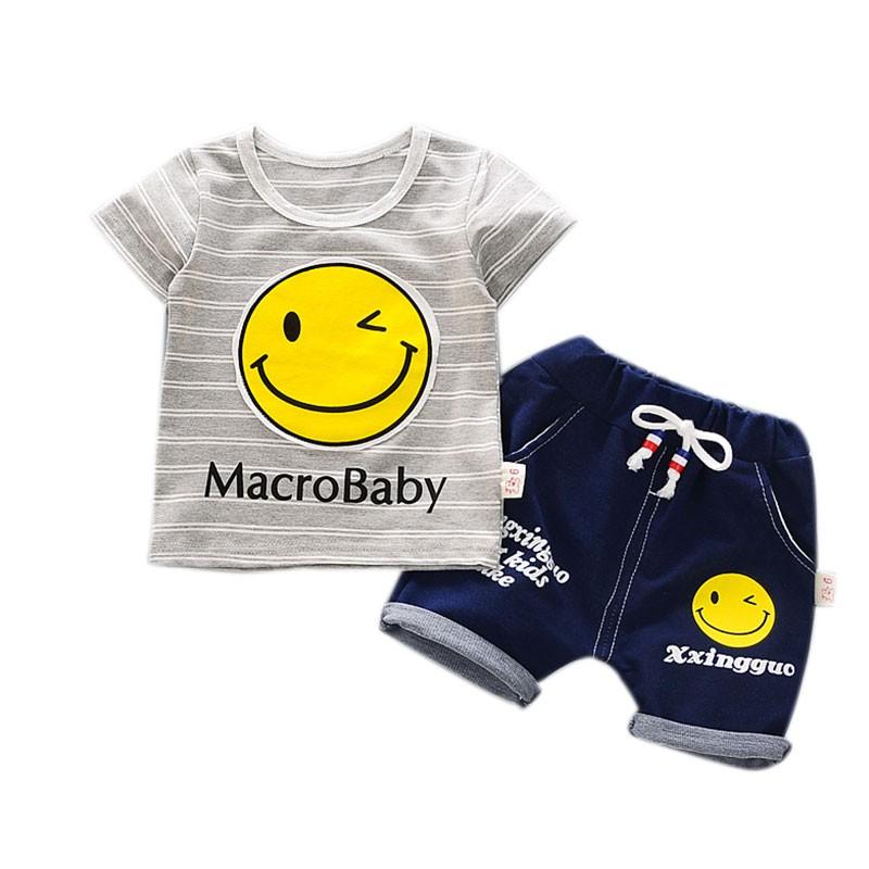2017 夏款男童套裝嬰幼兒純棉卡通兩件套寶寶服裝