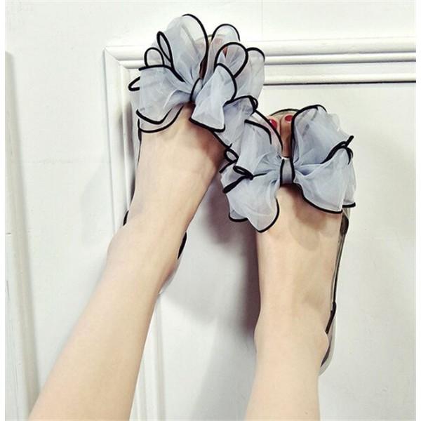 韓國 款蝴蝶結涼鞋羅馬涼鞋平底鞋沙灘鞋防水防滑居家女款拖鞋涼鞋夏天穿搭