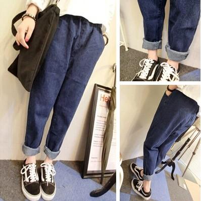 S XL 讚我折20 bf 直筒寬鬆男友褲牛仔哈倫長褲牛仔長褲