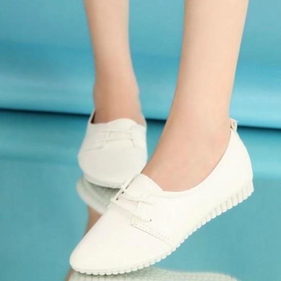 春 女鞋豆豆鞋 2016 平底白色係帶女鞋小白鞋 單鞋女