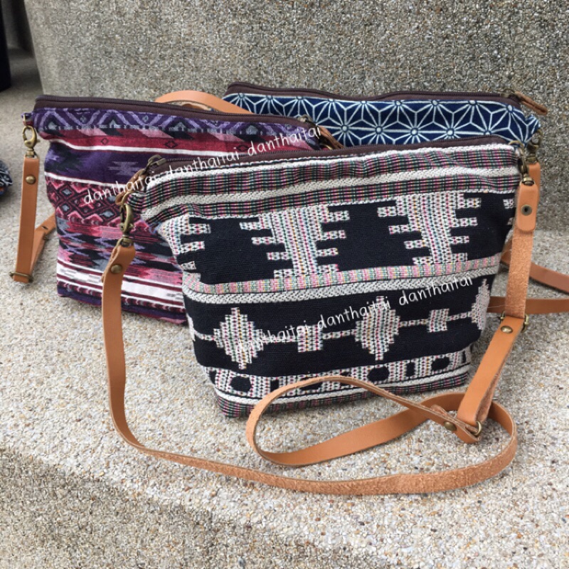 泰國泰北手作包斜背小包真皮背帶圖騰編織