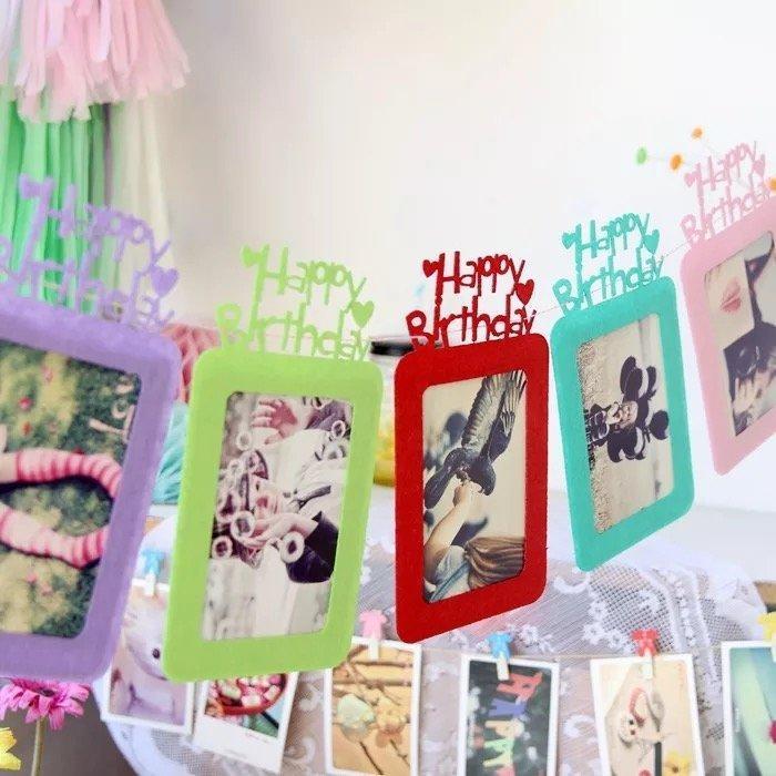 PR155 ❤英文字母款毛氈相框組6 入❤兒童生日派對周歲慶生佈置品不織布拍照裝飾道具家庭