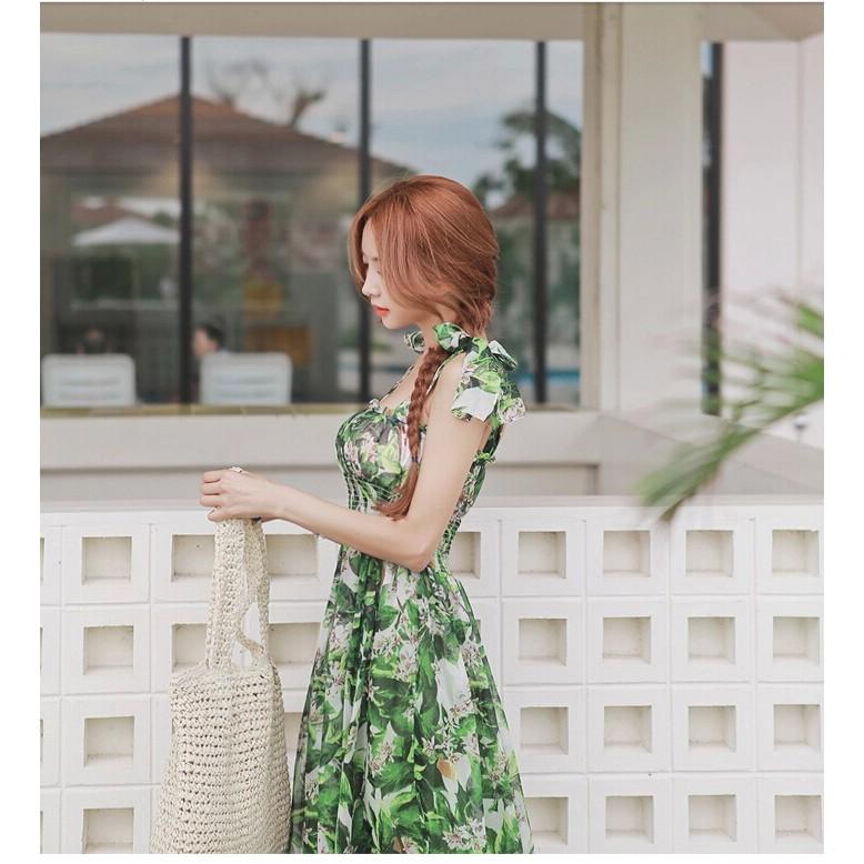 Hanagirl 韓國空運✈涼感小碎花蝴蝶結繫帶高腰修身波希米亞雪紡長洋裝