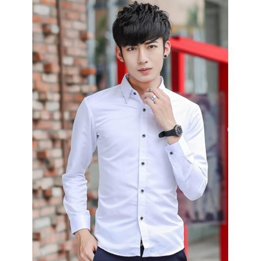 男士 商務純色長袖襯衫