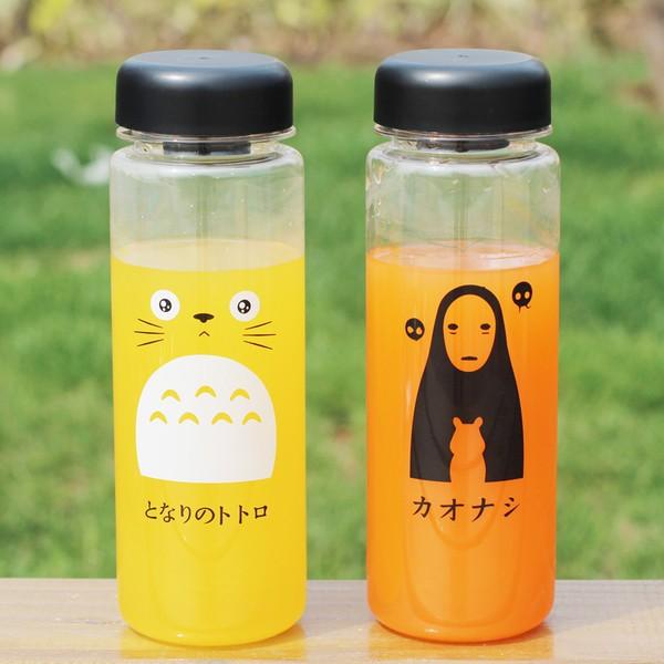 PETIT BAZAR 韓國可愛小清新塑膠隨身杯防漏龍貓無臉男宮崎駿水杯550ml