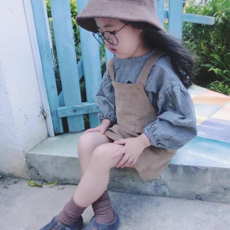 女童女寶兒童寶寶燈芯絨胸口口袋吊帶裙短裙連身裙X 黃色韓國同款