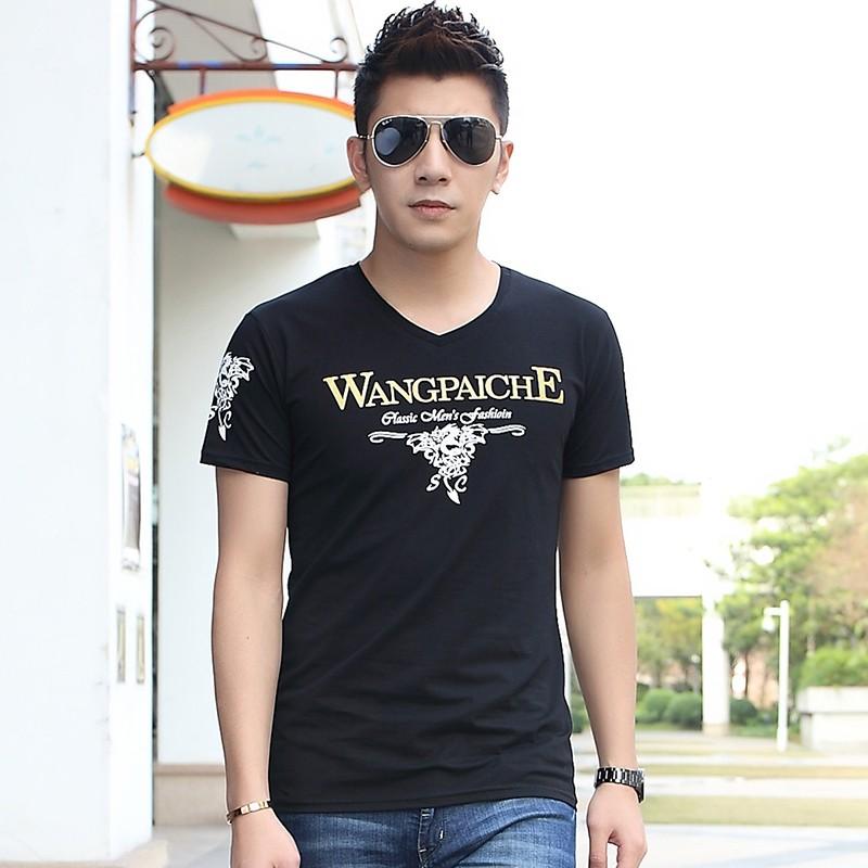0A 電玩街 短袖T 恤男V 領 修身上衣男款夏天印花男裝大碼青年打底衫潮