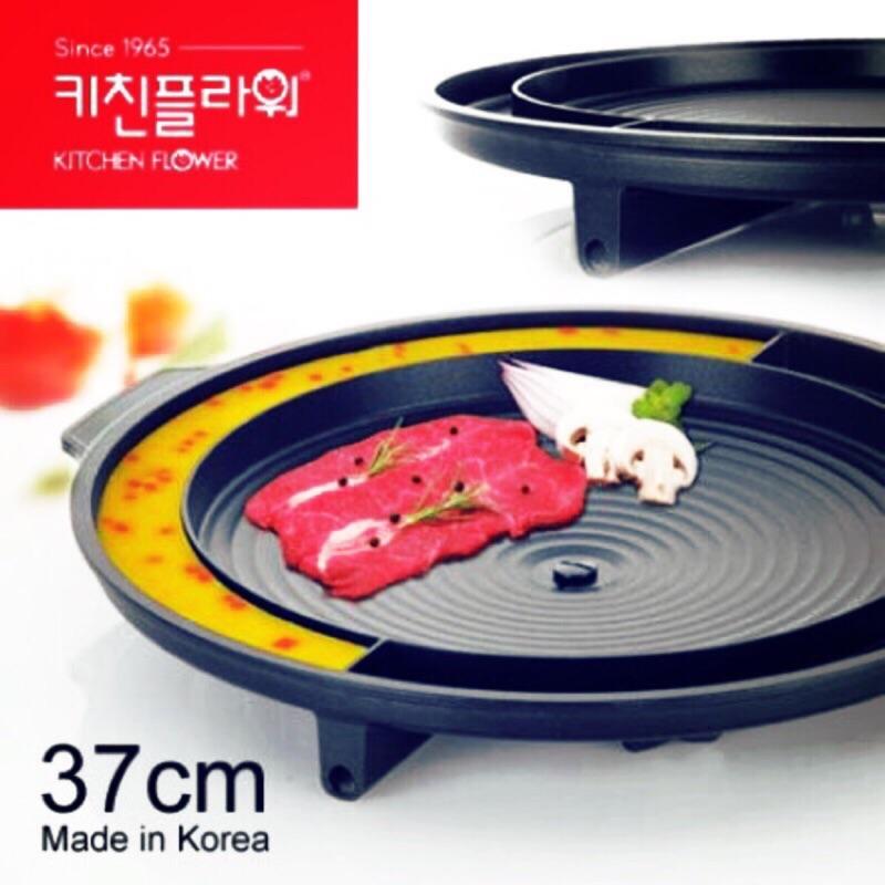 韓國直送道地的韓國烤盤來囉Kitchen flower 烤肉蒸蛋不沾鍋多 烤盤~艾麗小姐愛