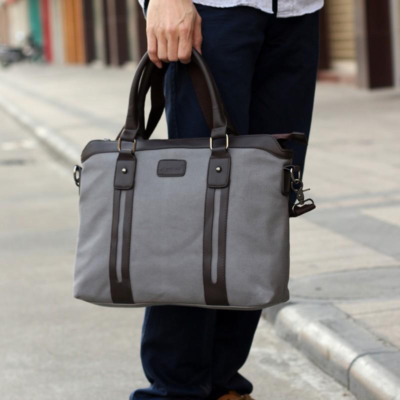 男包帆布包包男士手提包單肩包休閒包斜挎包商務公事包 潮