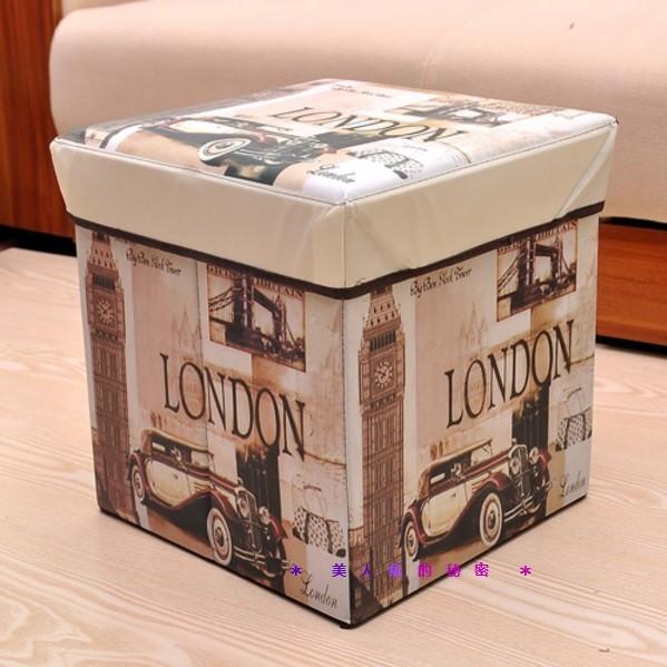 ✻美人魚的秘密✻倫敦英倫風沙發矮凳收納箱復古仿古工業風沙發摺疊收納箱雜誌整理盒兒童玩具儲物