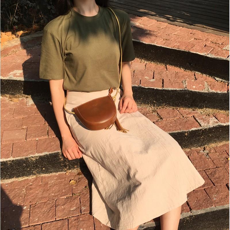 森女風休閒套裝間約原宿韓國Chic 純色T 恤女短袖側系棉麻chic 風半身裙女生衣著套裝