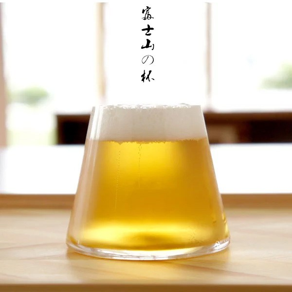 出口 富士山透明耐高溫玻璃杯