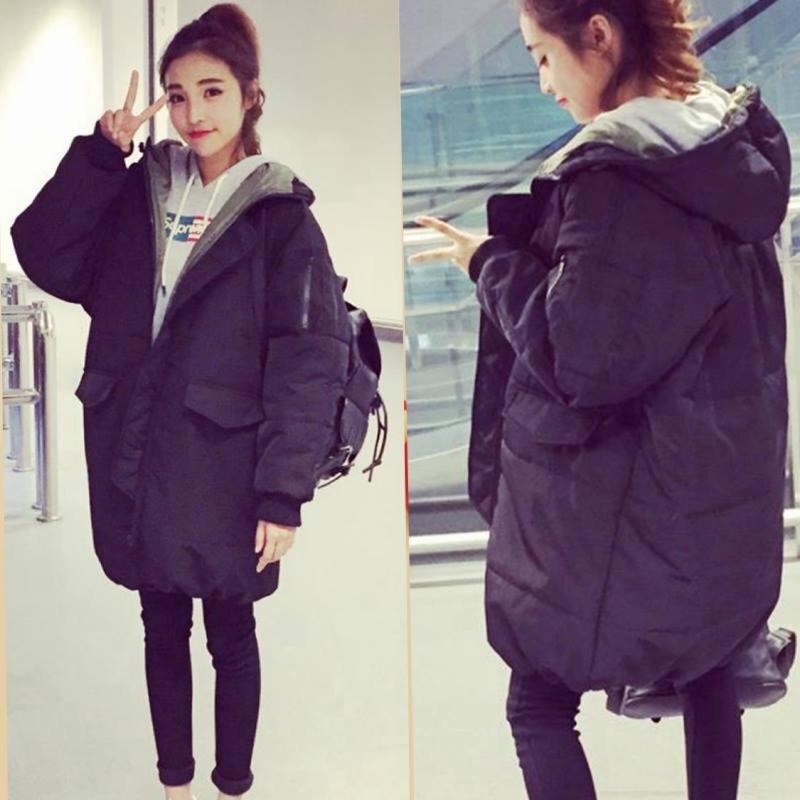 韓國 女裝 冬裝羽絨棉服女學生 中長款加厚寬鬆棉衣外套