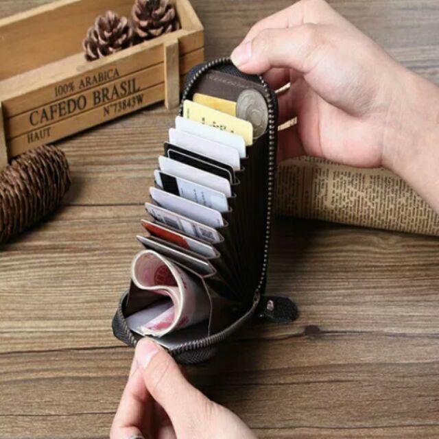 風琴皮夾多卡位皮夾頭層牛皮韓國風琴式卡包女式真皮卡夾男士多卡位卡片包拉鏈小錢包