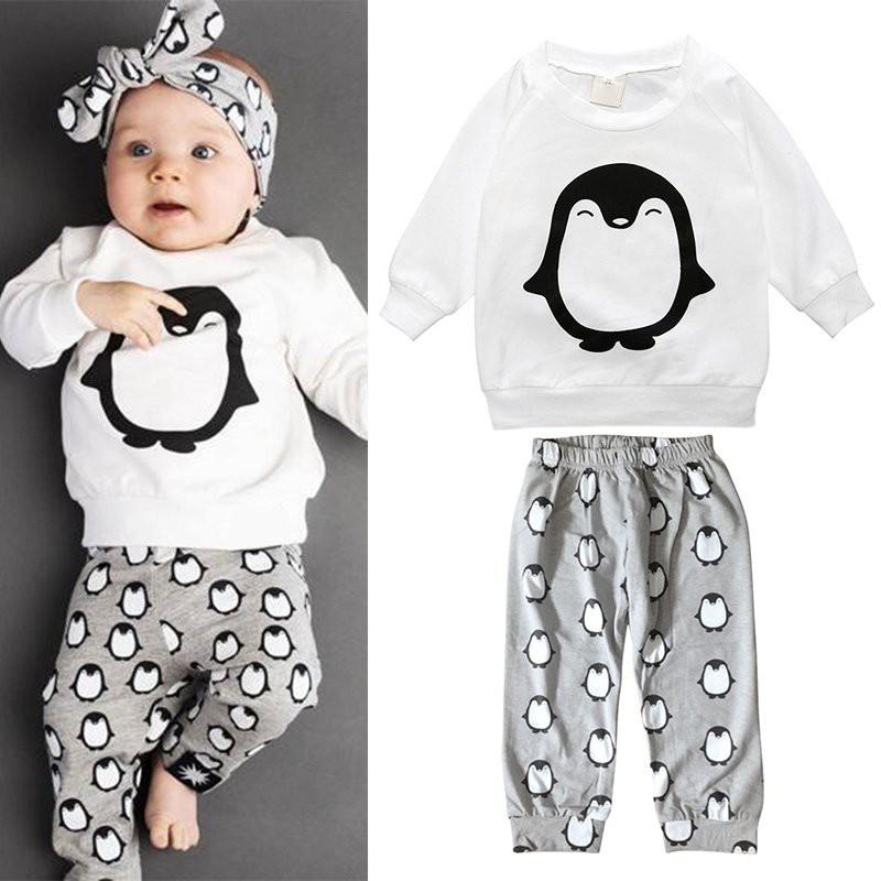 嬰兒衣服卡通棉T 恤褲子