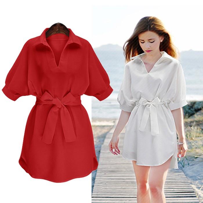 大小碼 寬鬆雪紡連身裙洋裝男友襯衫女裝V 領五分袖黑白紅