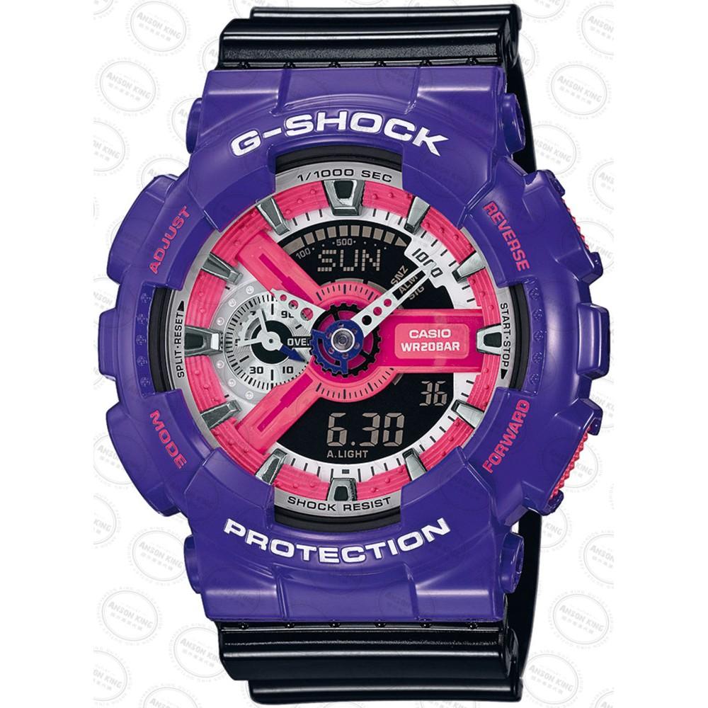 國外 CASIO G SHOCK GA 110NC 6A 紫X 黑耐撞擊構造雙顯防水手錶腕