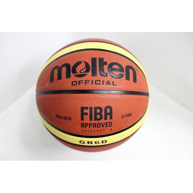 MOLTEN 12 片橡膠深溝GR6D YBW GR6D 6 號籃球女生籃球戶外耐磨咖啡色