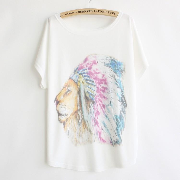 塗鴉t ~靴下本舖~塗鴉印花蝙蝠袖超寬鬆上衣-印地安獅子