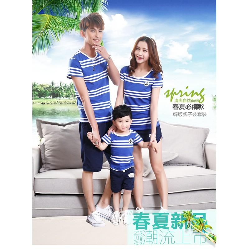 船錨藍白條紋純棉短袖T恤套裝 親子裝家庭裝 母女裝父子裝情侶裝班服團體服 款