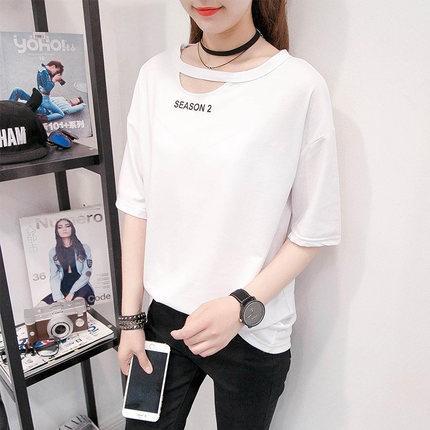 鏤空字母簡約短袖T 恤0453 圓領鏤空剪裁性感字母短袖T 恤