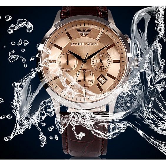 ARMANI 阿瑪尼手錶阿瑪尼AR2433 男士石英錶Armani 復古系列真皮皮帶手錶手