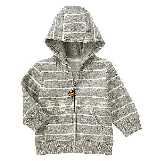 ~HOT 發燒貨~美國Gymboree Stripe Fleece Hoodie 灰白條紋