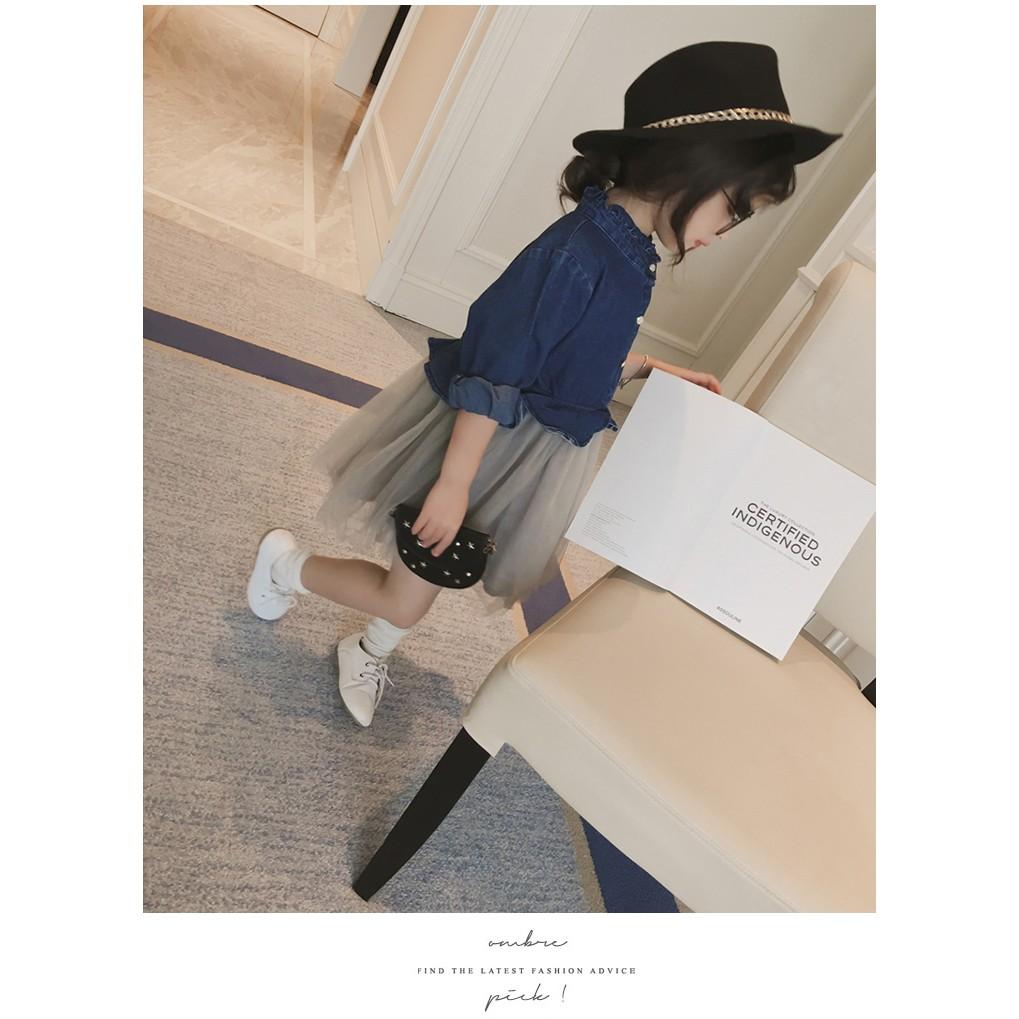 女童小童女寶寶 純棉長袖拼接牛仔連衣裙子紗裙牛仔洋裝灰黑