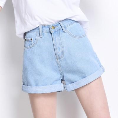 ~AL 寬鬆牛仔褲~高腰牛仔短褲女夏寬鬆 學生卷邊闊腿牛仔褲熱褲短褲學生文藝