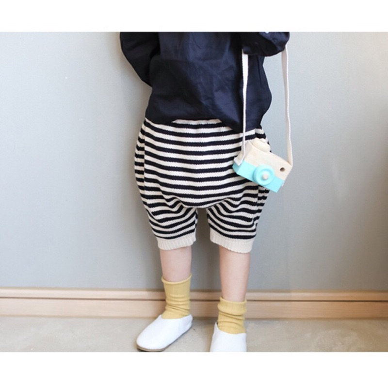 訂製韓國同款男女寶寶針織百搭條紋五分褲