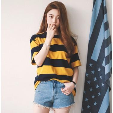 黃黑條紋休閒女裝上衣  百搭寬鬆圓領短袖T 恤女Tee