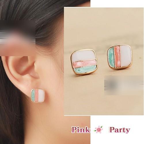 ~夾式耳環~可愛方型方塊彩色滴油條紋夾式耳環耳夾EH066 PinkParty ❤韓系飾品