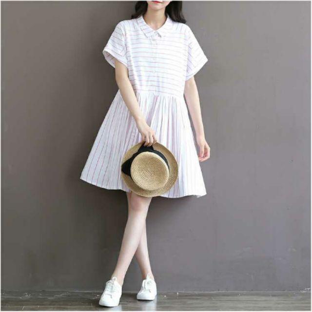文藝復古風棉麻線條紋連衣裙