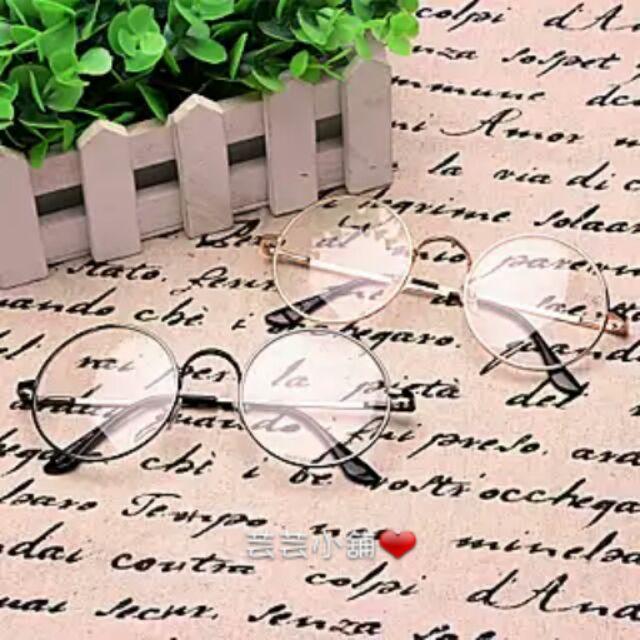 復古眼鏡~送~眼鏡戴拭鏡布圓框眼鏡復古 復古風潮可愛 圓形框超夯