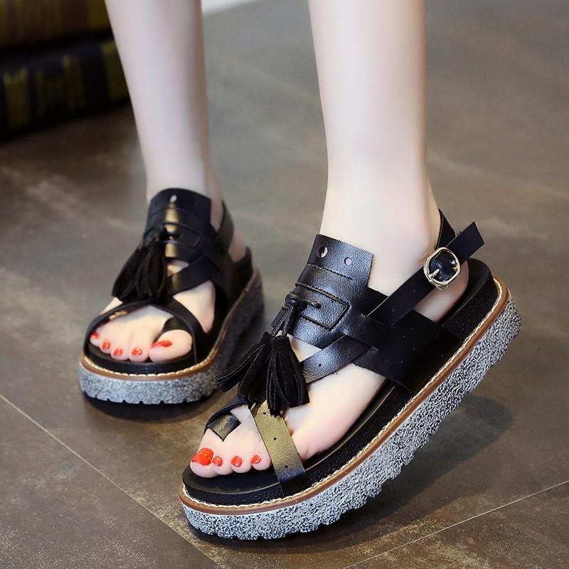 英倫風復古厚底松糕羅馬涼鞋女夏2016 流蘇套趾平底學生女鞋子學步鞋童鞋女鞋高跟鞋單鞋豆豆