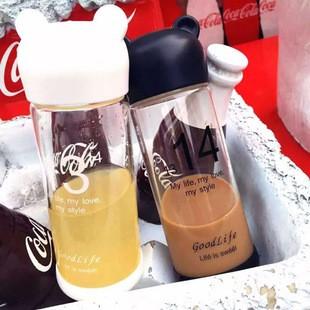 環保透明 小熊杯子水杯情侣杯果汁杯玻璃杯小熊玻璃瓶350ML