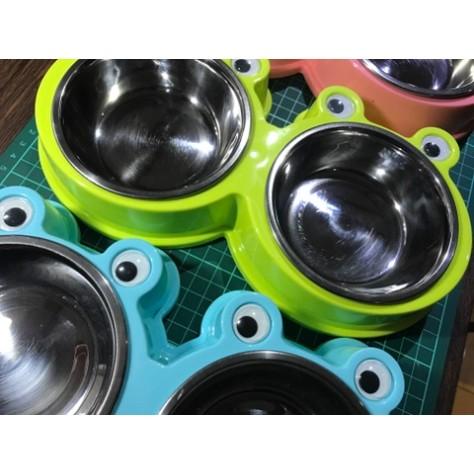 ~滷蛋 館~升級版立體可愛眼睛青蛙 寵物不鏽鋼雙碗