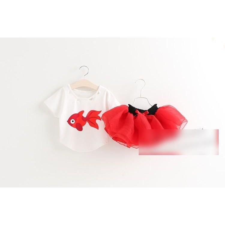 金魚短袖T 恤蓬蓬裙女童2 件套裝兩色橘色紅色