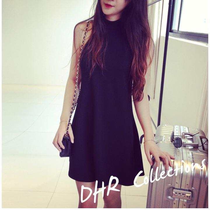 Miss 花娜~SK1189 韓國連線 氣質小香風掛脖露肩性感薄款微透小黑裙洋裝